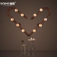 Американский промышленный коридор кафе Винтаж гладить трубы в форме сердца Декор настенный светильник