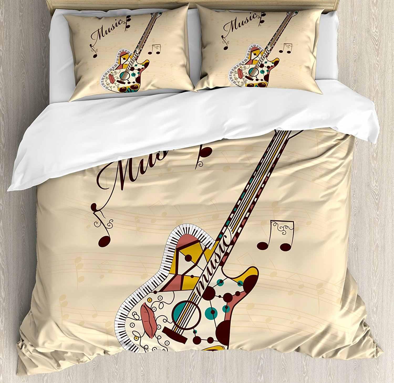 Copripiumino Note Musicali.Chitarra Set Copripiumino Astratta Funky Strumento Chitarra Melody