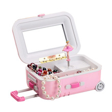 Suitcase Style Music Box Jewelry Storage Box Rotating Ballerina Girl for Kid Toys Gift Hot Sale