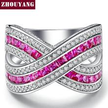 RoseRed Square Cubic Zirconia Silver Color Fashion Jewelry Ring Cocktail Party Working For Women Wholesale Top Quality YG011