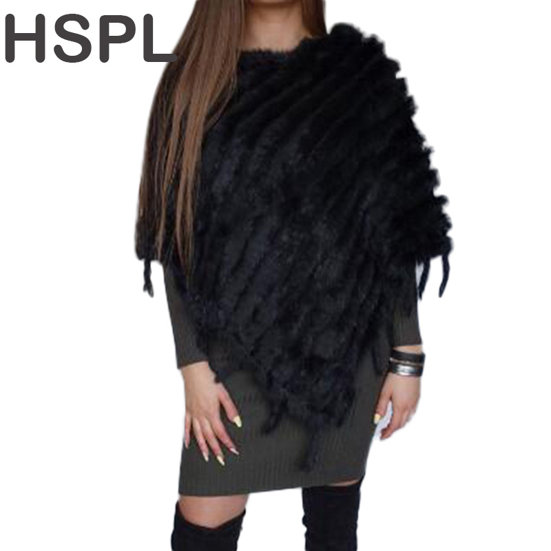 Fur Poncho 2017 Autumn Real Rabbit Hot Sale Triangle Knitteds