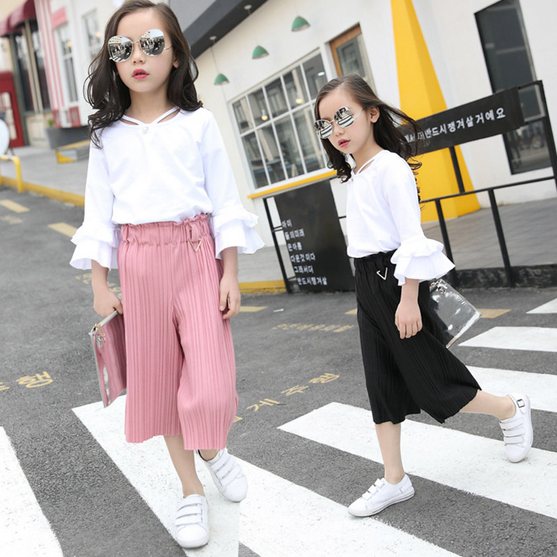 Baby girls clothes 2017 fashion summer Spring  Autumn Toddler 2pcs t-shirt + pants suit for kids cottongirls clothing sets 4-12T girls in pants third summer