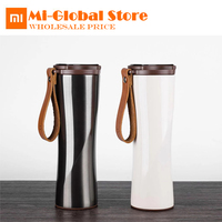 New arrival xiaomi kiss fish smart cup 430ml OLED Temperature Screen Display 310g protable Stainless Steel Cup with leather rope