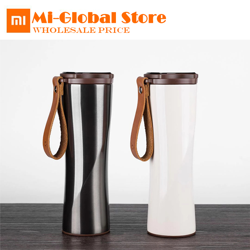 New arrival xiaomi kiss fish smart cup 430ml OLED Temperature Screen Display 310g protable Stainless Steel Cup with leather rope updated xiaomi kiss kiss fish 525ml function cook egg tea nutrition cup with oled temperature screen stainless steel vacuum cup