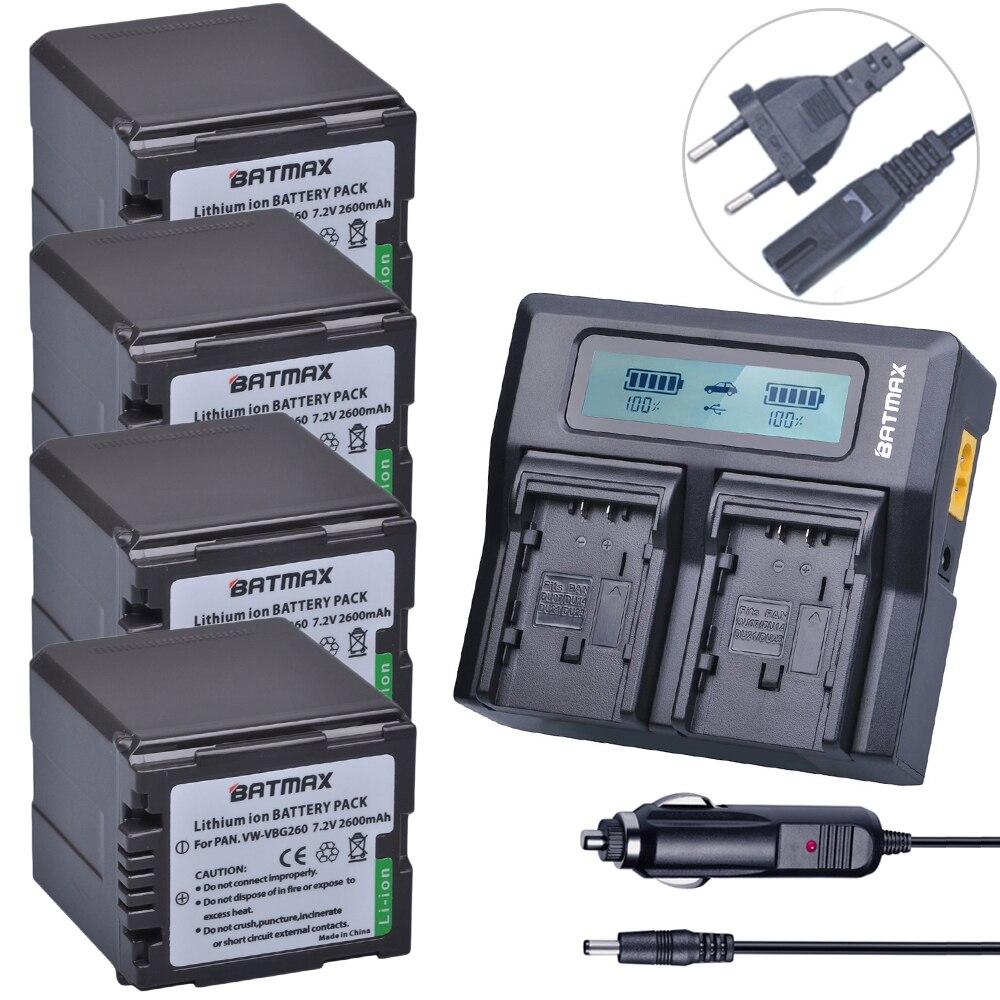 Batmax 4pc VW-VBG260 VW VBG260 battery +1 Ultra Fast 3X faster Dual Charger for Panasonic AG-HMC154ER AG-HMC154GK AG-HMC154P replacement vbg260 7 4v 2460mah battery pack for panasonic ag hmc150 hdc dx1 more