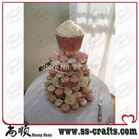 5 Tiers Tier Large Round Maypole Wedding Acrylic Cupcake Stand Tree Tower Cup Cake Display