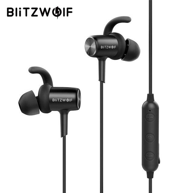 Blitzwolf Sport słuchawki bluetooth z mikrofonem słuchawki douszne IPX4 wodoodporna magnetyczny adsorpcji bezprzewodowy zestaw słuchawkowy do telefonu