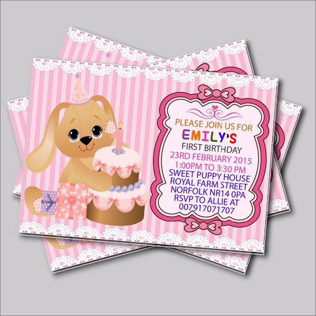 20 pcslot custom cute puppy birthday invitations baby shower 20 pcslot custom cute puppy birthday invitations baby shower invites boy or girls birthday filmwisefo