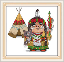 India Dihitung Cross Stitch Kartun Orang 11CT Dicetak DMC Warna 11ct 14ct 18ct Set Diy Kapas Kit Bordir Menjahit(China)