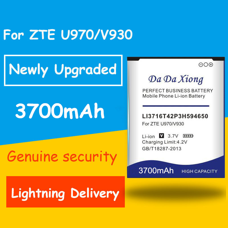 High capacity 3700mAh LI3716T42P3h594650 <font><b>Battery</b></font> for <font><b>ZTE</b></font> U970 v807 V930 U930 N970 <font><b>V970</b></font> V889S V889M U795 Replacement batteria image