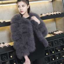Fluffy Feather Fever Fur Jackets 100% Handmade Knitted Genuine Ostrich Fur Coat Women Retail / Wholesale Natural Fur Jacket(China)
