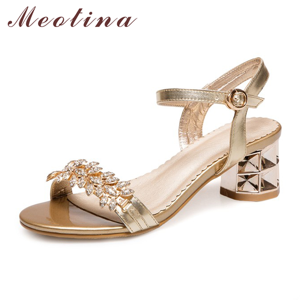 Meotina Women Sandals Summer 2017 High Heel Sandals Crystal Party Sandals Fashion Flower Thick Heels Bridal