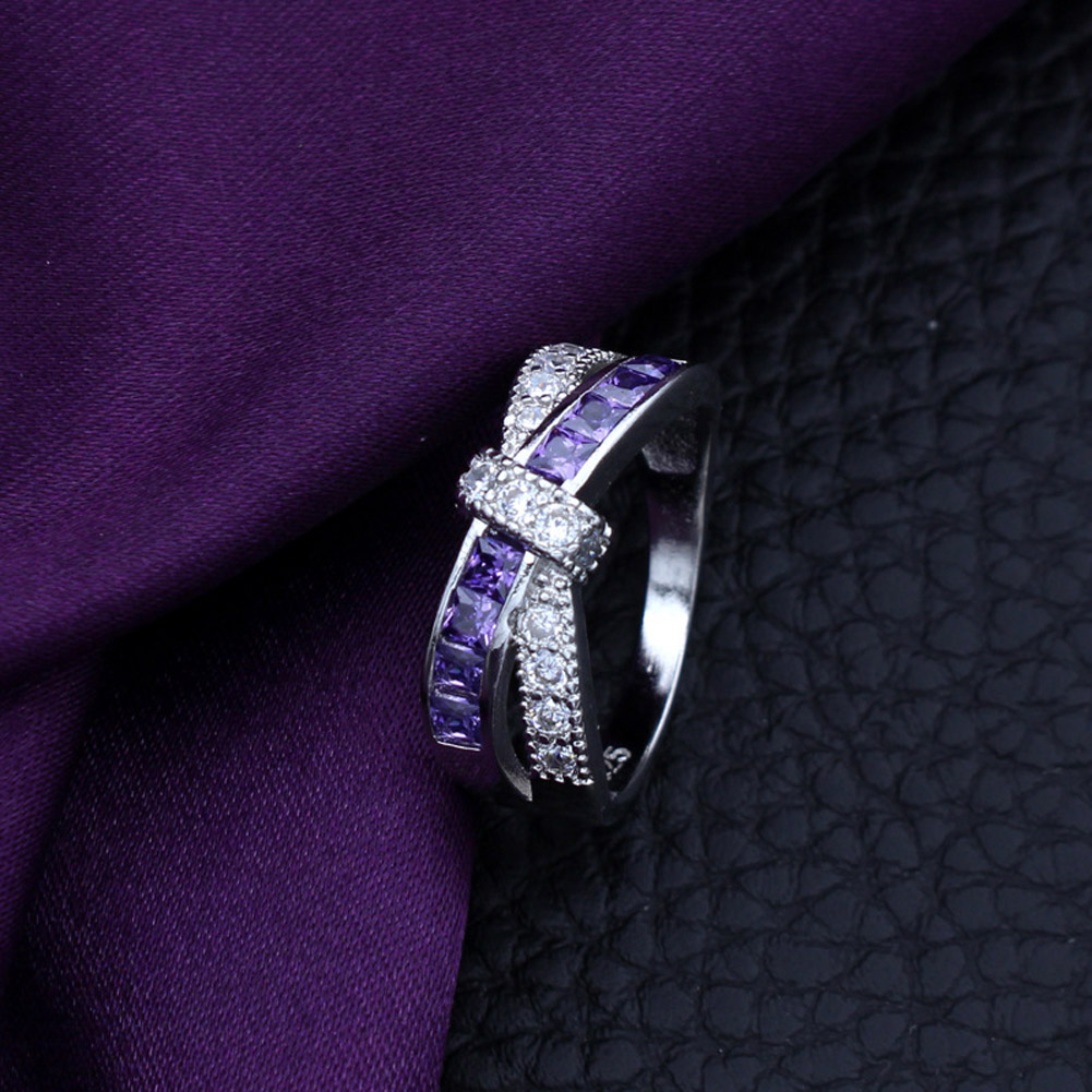Crossed crystal Wedding Engagement Ring Wholesale Cross Finger Ring Luxury Purple Jewelry