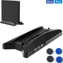 Spaceship 2 in 1 PS4 Pro Slim Vertical Stand +2 Cooling Fans Cooler 3000PRM+3 USB HUB 2.0 Ports For Console