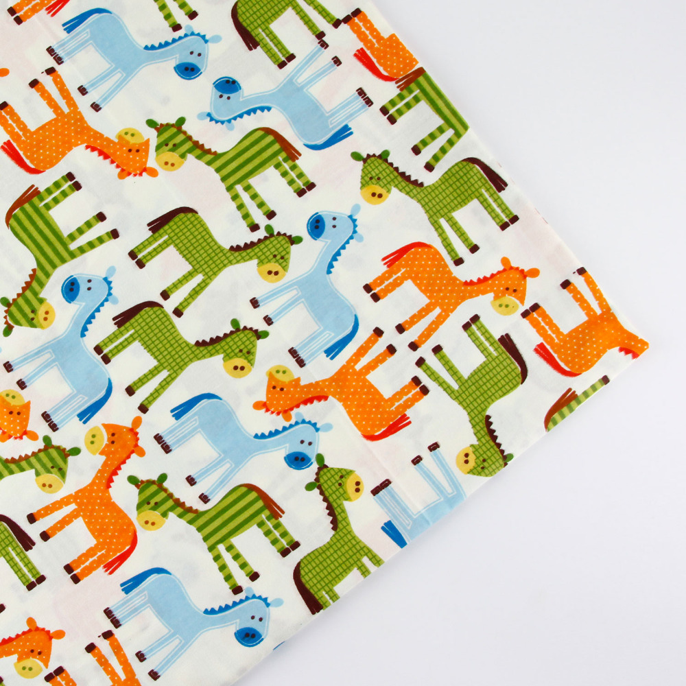 0 5 meter width 156cm cartoon horse print 100 cotton for Horse fabric for kids