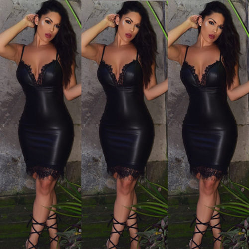 4d24f1a05a Fashion Women Sexy Slim Bodycon Dress Summer Club Wear Sleeveless Deep V  neck Leather Lace Mini Pencil Dresses-in Dresses from Women s Clothing on  ...