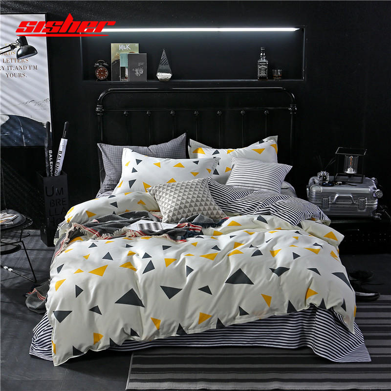 Sisher Duvet Cover Sets With Pillowcase Comforter Quilt Covers Cotton Brief Nordic Queen King Size Bedclothes Linen Kids Adult