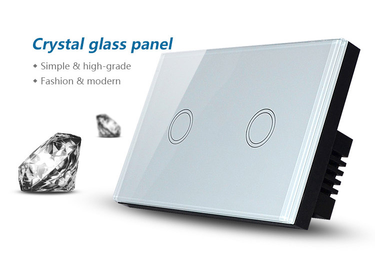 US Standard 2 Gang Touch Light Switch Crystal Glass Electrical Wall ...