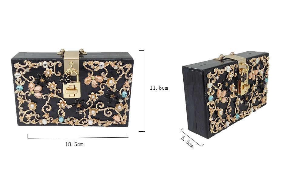 795b5da6a0 Boutique De FGG Light Blue Women Acrylic Box Clutch Bag Flower Crystal  Evening Handbags Party Chain Shoulder Crossboday Bag
