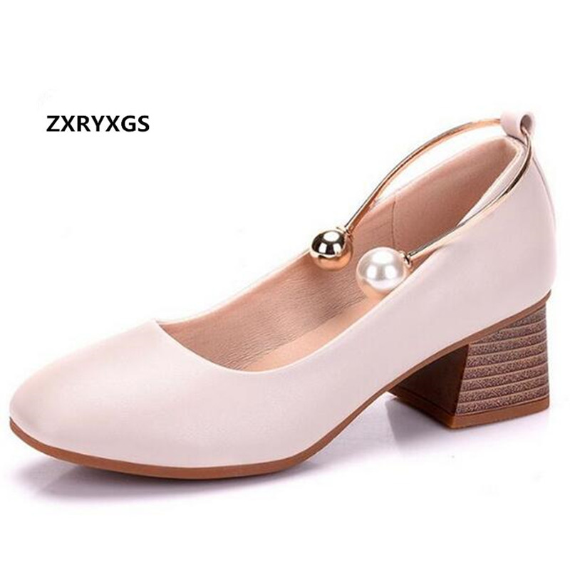 ZXRYXGS Brand Shoes Woman with Thick Heel Shoe 2018 New Spring Pearl Fashion Shoes Real Leather Shoes High Heels Plus Size 33-43 недорого