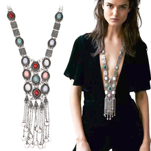 Ethnic Tribal Turkish Vintage Colorful Resin Stone Silver Gold Chain Necklace Bohemian Necklaces & Pendants gargantilla PWN0190