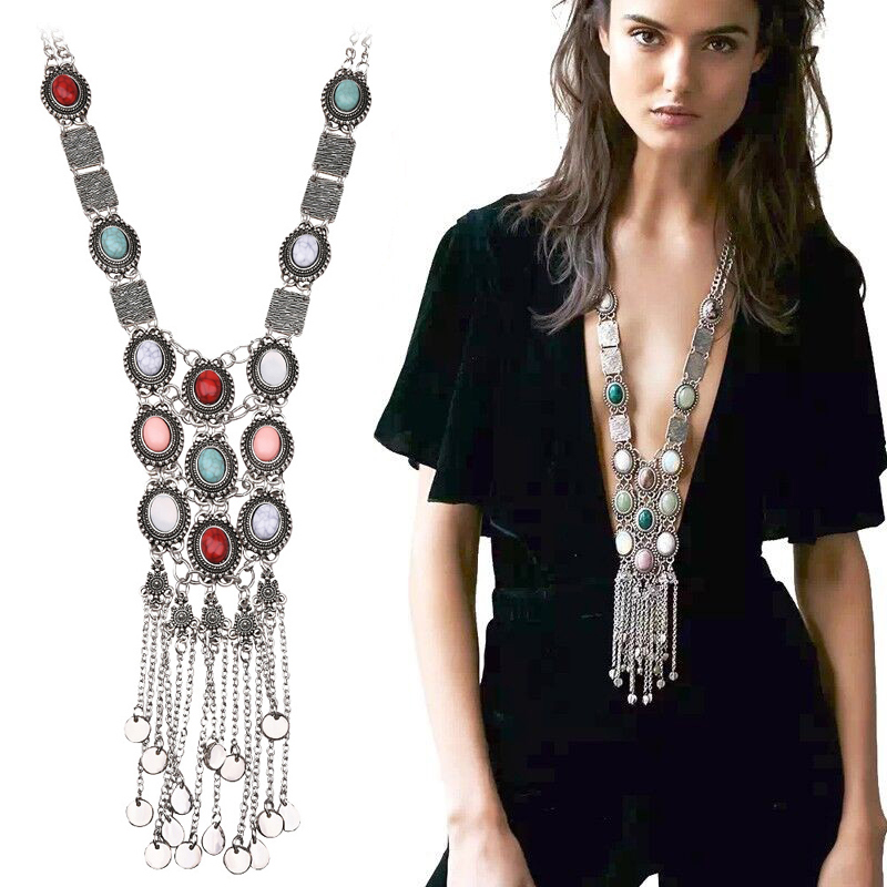 Ethnic Tribal Turkish Vintage Colorful Resin Stone Silver Gold Chain Necklace Bohemian