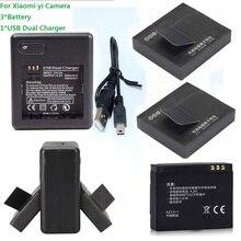 Para Xiaomi YI Recarregáveis plus Carregador Xiao YI DA Bateria 3 Pcs 1100 Mah Baterias Duplo plus Cabo Usb Ação Acessórios Esportivos