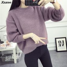 2018 Women Sweater Autumn O-neck Solid Color Knitted Pullovers Female Tops Casual  Camisola das mulheres Winter warm