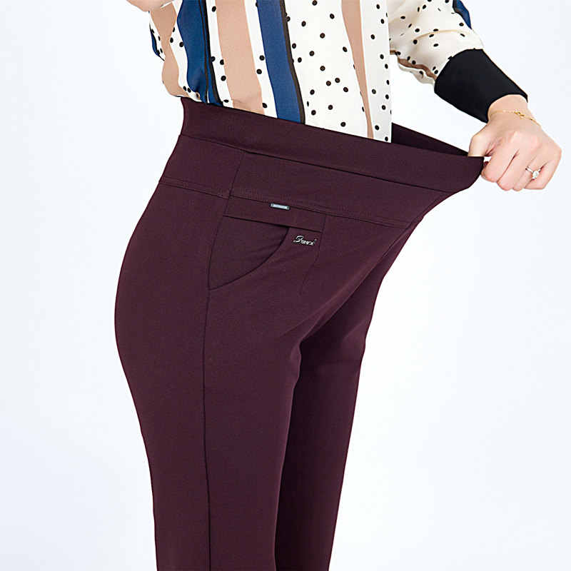 S-6XL New Spring autumn Plus Size Women's Pants Fashion Solid color Skinny high waist elastic Trousers Fit Lady Pencil Pants