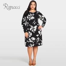 c5f5e9b7cf2d Romacci Flor Das Mulheres Vestido Estampado Floral O-pescoço Longo Manga  Solta Midi Vestido Casual 4XL 5XL Plus Size Outono Vest.