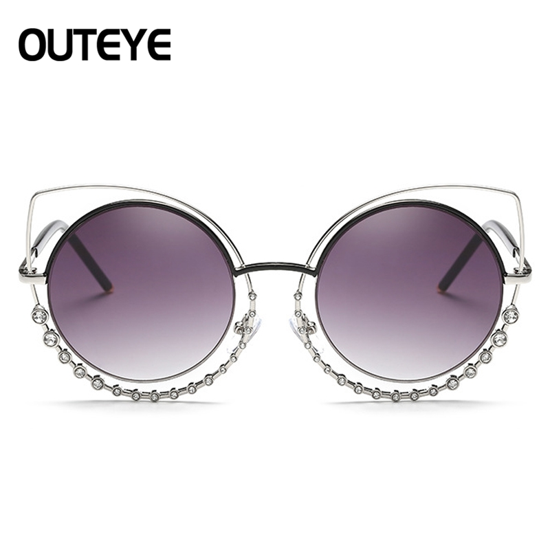 OUTEYE Diamond Cat Eye Sunglasses Women Round Mirror Sun Glasses Rhinestone Oversized Reflective Eyewear lunette de soleil femme 5