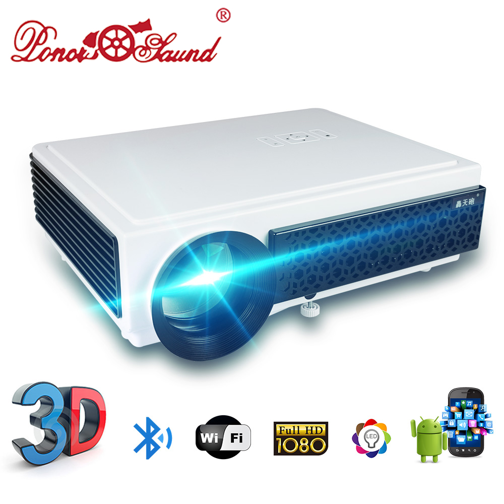 Poner Saund LED96+ Projector 3D Home Theater Optional Android WIFI 100inch screen AS GIFT Beamer LCD Proyector HD 1080P HDMI USB wzatco led96 tv projector full hd 1080p android 4 4 wifi smart rj45 3d home theater video proyector lcd projector beamer for ktv