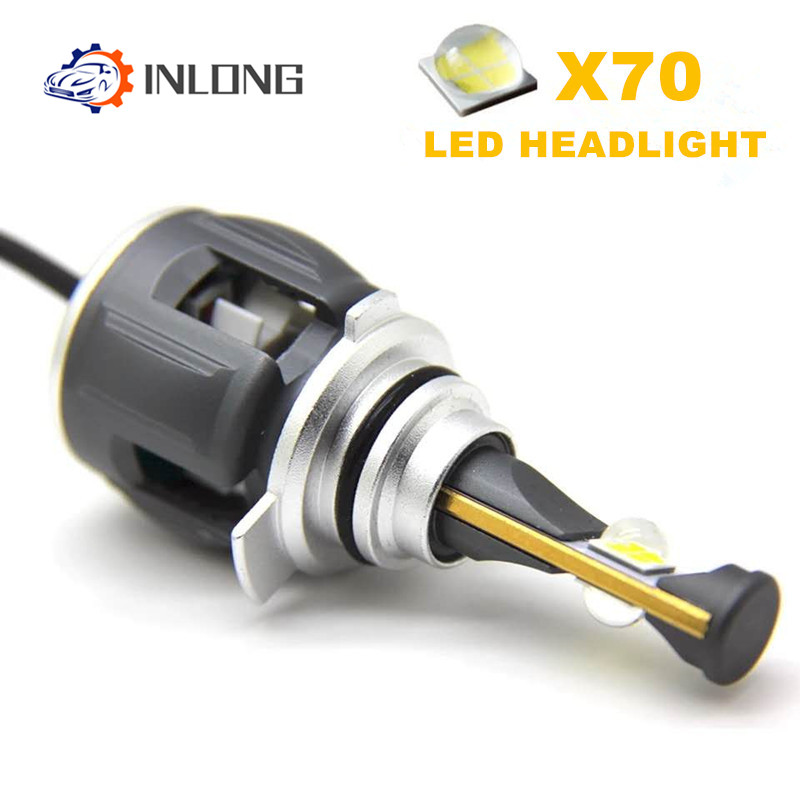 Inlong X70 2Pcs H4 H7 H1 9005 9006 Car LED Headlight Bulbs H11 H8 H9 D1S