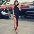 2014 Hot Kim Kardashian Dress Sexy Women Black Celebrity Dresses Halter High Side Slit Vestido De Festa Backless Evening Gowns