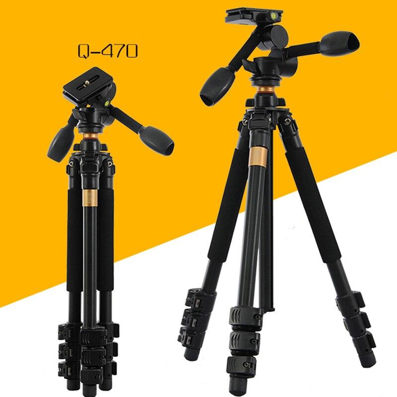 QZSD Q470 High Qulity Aluminum Camera Tripod With Head Set Flexible 1540mm Digital Video Tripods Stand Action Accessories