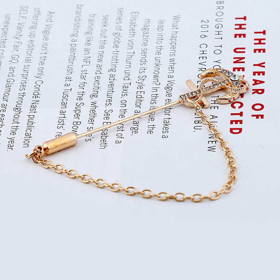 SHEEGIOR BARU Gaya Pria Panjang Bros Pin Indah Rantai Emas Rumbai Berlian Imitasi Jangkar Bros untuk Wanita Lencana Fashion Perhiasan Hadiah