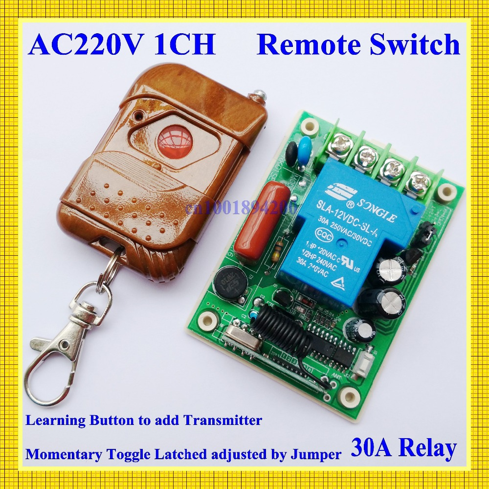 220V Wireless Receiver Transmitter Remote Control Switch System30A 3000W 315/433 light/Lamp LED water pump Push cover transmiter 220v 30a wireless remote control switch receiver transmitter 315 433mhz