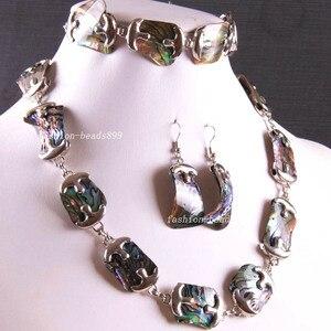 Image 2 - Бесплатная доставка, модные ювелирные изделия, натуральный синий, новая Zealand, абалона, ожерелье, браслет, серьги 1 Набор E819