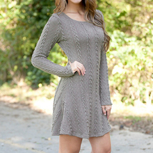 Women Causal Plus Size S-5XL Short Sweater Dress Female Autumn Winter White Long Sleeve Loose knitted Sweaters Dresses 6Q0471