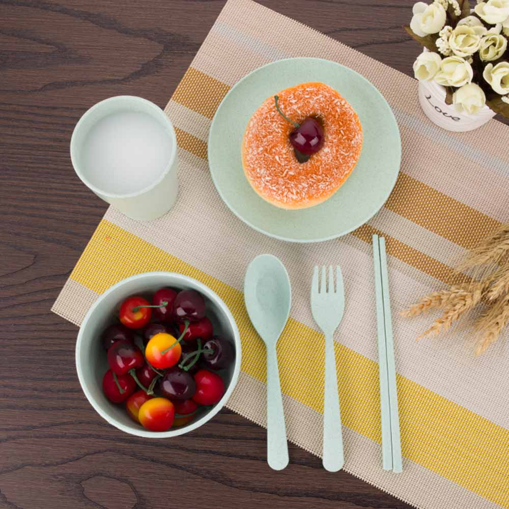 6Pcs/Set Wheat Straw Tableware Portable Travel Cutlery Sets Outdoor Dinnerware