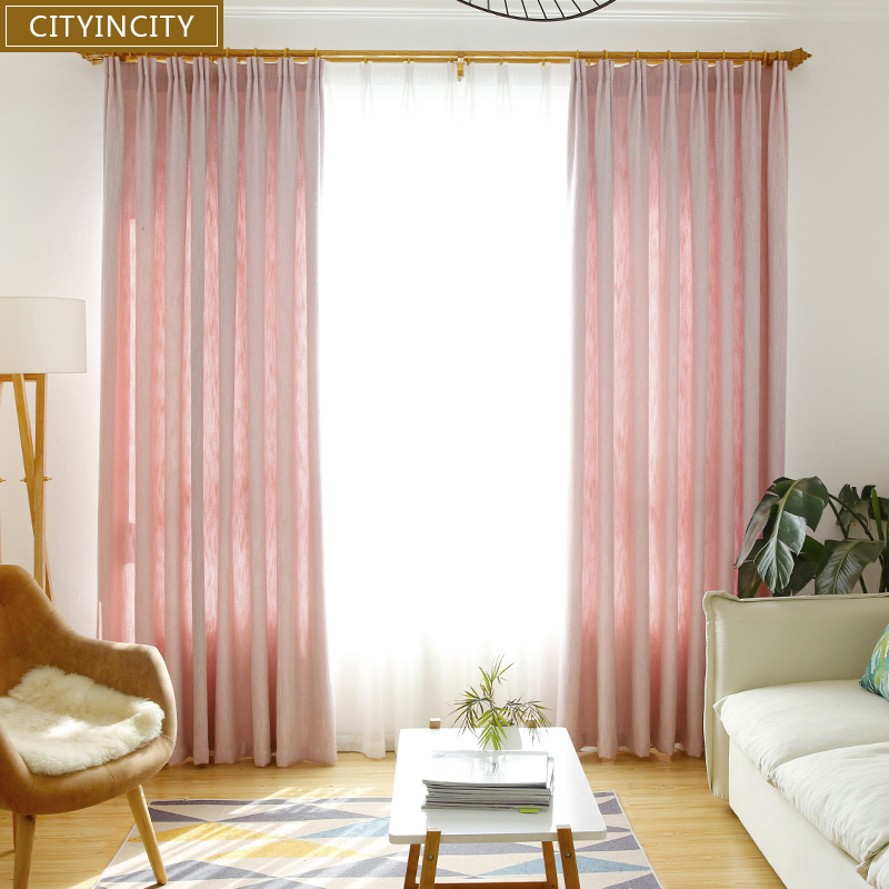 CITYINCITY Stripe Blackout Home Decor Curtain For Living room Drape Princess style Faux linen pink Curtains