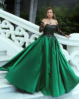 JaneVini Elegant Green A Line Prom Dresses Plus Size Long Sleeves Black Appliques Sequined Satin Gown Arabic Sexy Evening Dress