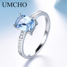 UMCHO Rectangle Created Sky Blue Topaz Ring Real 925 Sterling Silver Jewelry Colorful Gemstone Rings For Women Gift Fine Jewelry rosalie natural loose gemstone brazil real sky blue topaz oval 6 8mm 3 pc 4 5ct in one lot gemstone for silver jewelry mounting