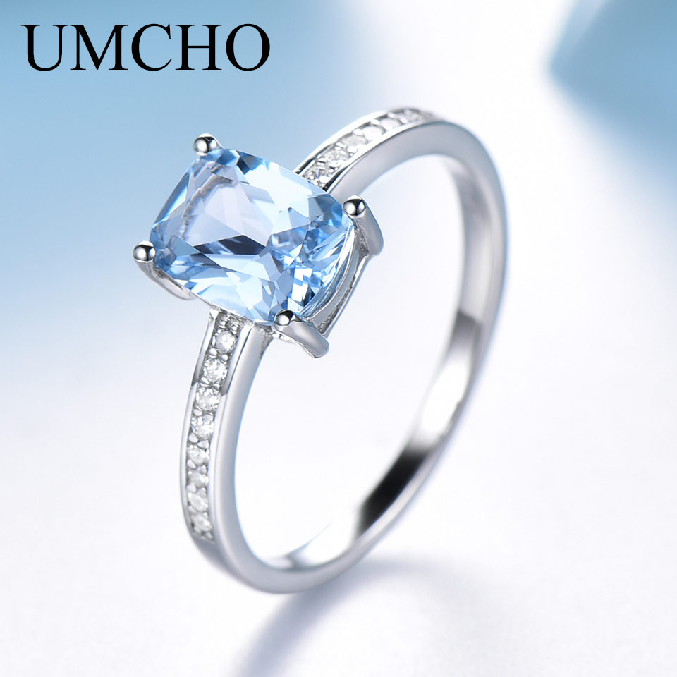 UMCHO Rectangle Created Sky Blue Topaz <font><b>Ring</b></font> <font><b>Real</b></font> <font><b>925</b></font> Sterling Silver Jewelry Colorful Gemstone <font><b>Rings</b></font> <font><b>For</b></font> <font><b>Women</b></font> Gift Fine Jewelry image
