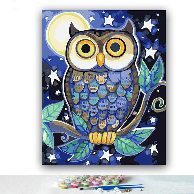 DIY Coloring paint by numbers Owl family of five pictures Abstract figure paintings   with kits 40x50 framed