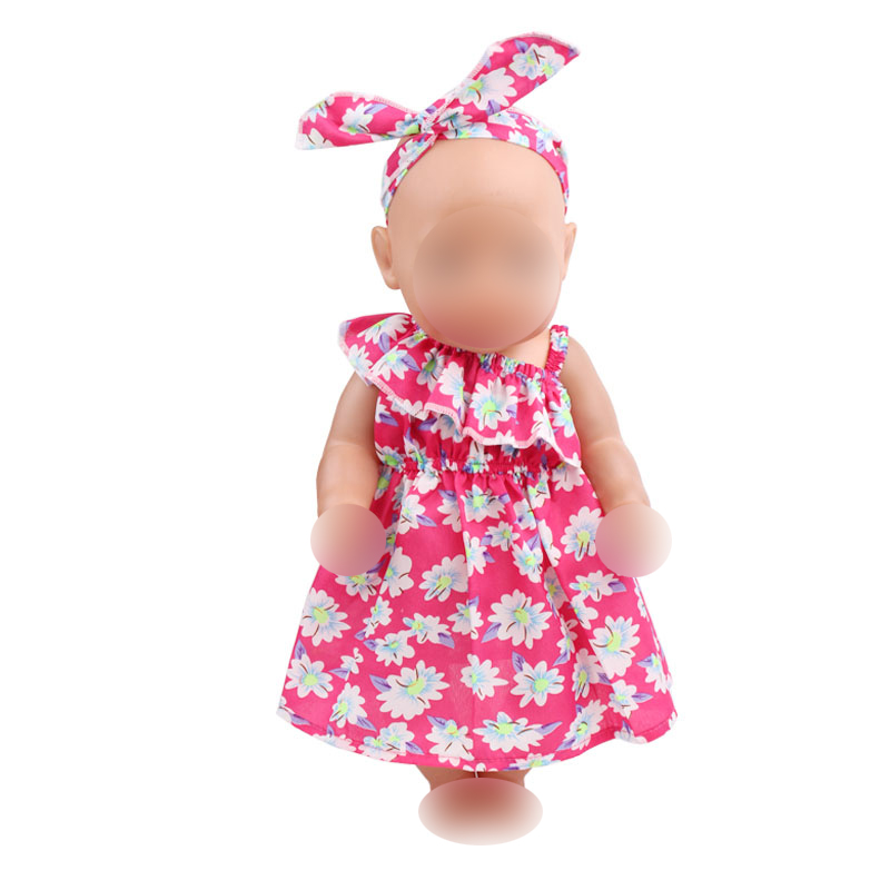Doll Clothes 6 Colors Print Dress  Hair Band Fit 43 Cm -8141