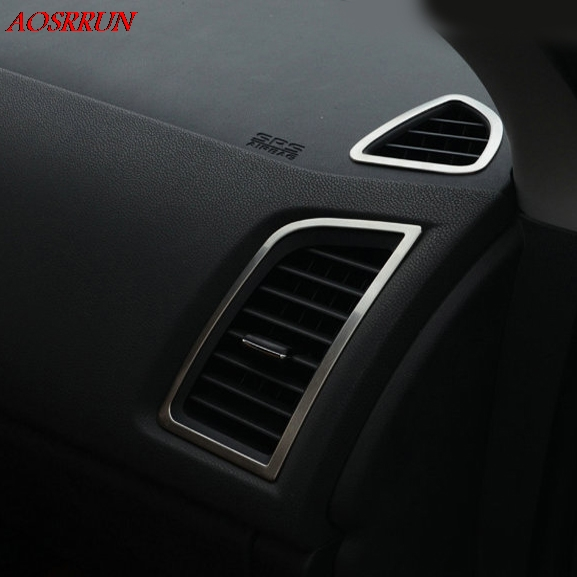 Aire acondicionado decorativo Cubierta de la cubierta Marco de acero inoxidable Accesorios para autos Etiqueta 3D apta para Mitsubishi ASX 2011 2012 2013