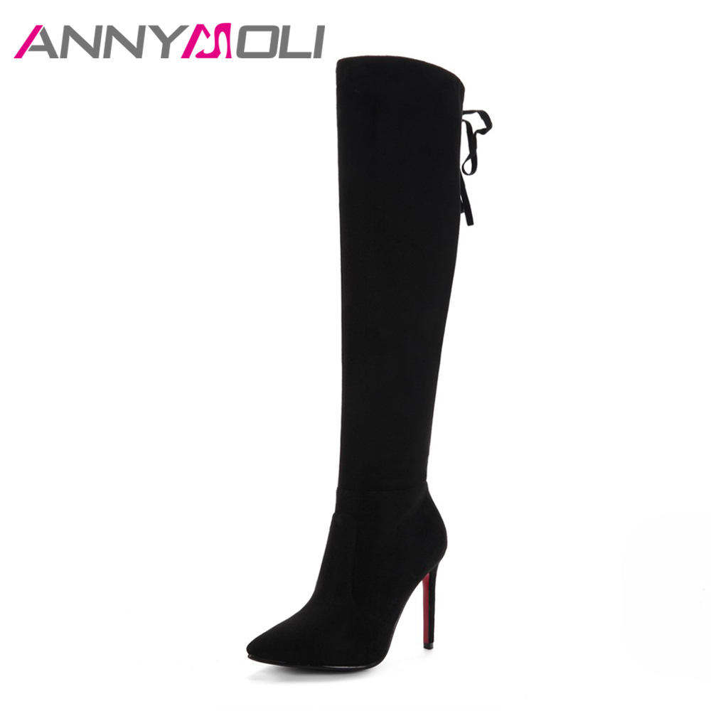 ANNYMOLI Winter Women Thigh High Boots Sexy Thin High Heel Boots Lacing Stretch Knee High Boots Zip Plus Size 33-43 Black Red jialuowei women sexy fashion shoes lace up knee high thin high heel platform thigh high boots pointed stiletto zip leather boots