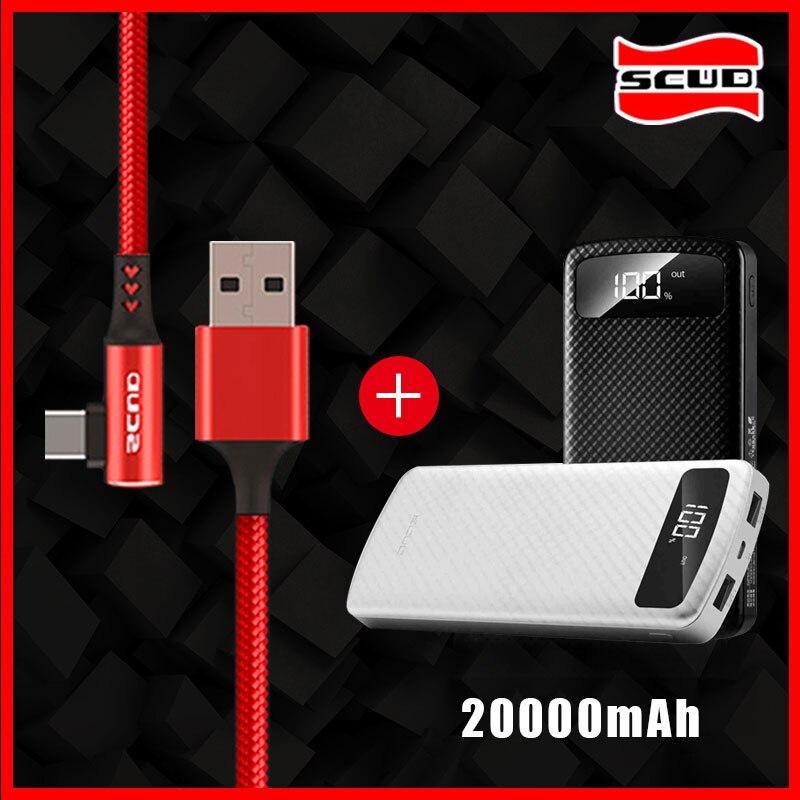 Scud batterie externe 20000 mAh + type-c câble USB avec LED affichage numérique powerbank pour Xiaomi Huawei LG Samsung téléphone mobile Android