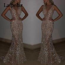 Laipelar Womens Sequins V-neck Dress Long Evening Party Formal Wedding Ball Prom Gown
